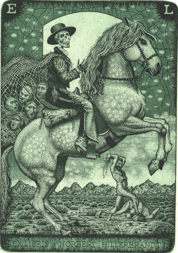Ex Libris Mr. Reaper (10) 50 Watts #horse #reaper #macabre #print #illustration #etching #rider #skull #death