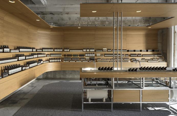 Aesop Shibuya is a minimalist interior located in Tokyo, Japan, designed by Torafu Architects