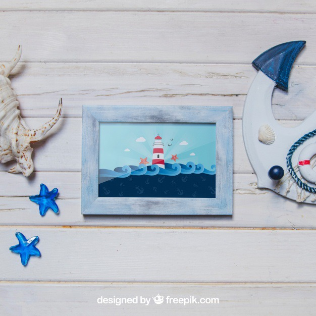 Marine concept with frame Free Psd. See more inspiration related to Frame, Mockup, Summer, Beach, Sea, Sun, Photo frame, Photo, Holiday, Mock up, Anchor, Decorative, Vacation, Wooden, Summer beach, Marine, Up, Season, Wood frame, Concept, Composition, Mock, Summertime and Seasonal on Freepik.