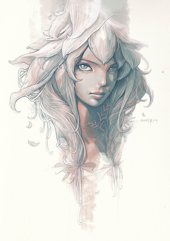 The flower fairy by engkit #portrait #illustration #inspiartion