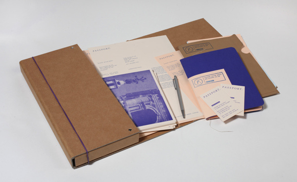 Passport Identity #branding #packaging #print #letterpress #brown #identity #blue #folder