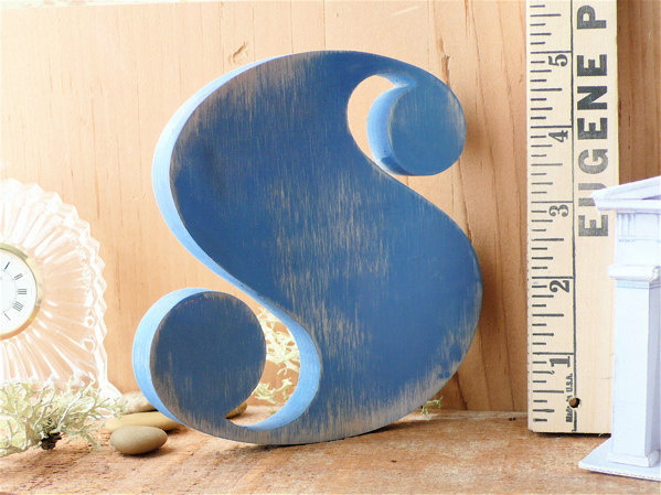 Blue Rustic Letter 'S' Typographic Wooden Letter #serif #wood #typography