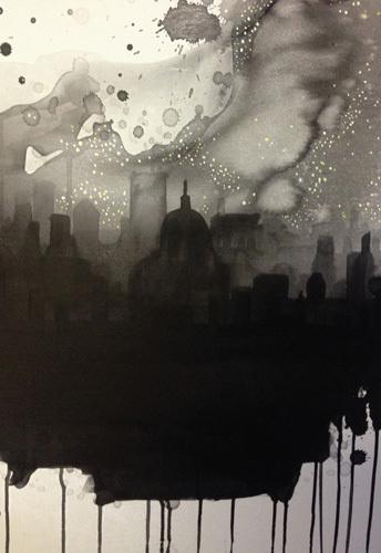 See The City By Starlight Art Print by Rebecca Hunter Easyart.com #ink #cityscape #city #print #design #black #monochrome #poster #skyline
