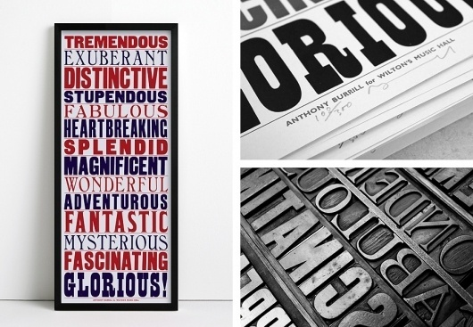 ANTHONY BURRILL - WILTONS MUSIC HALL #woodblock #retro #poster #typography