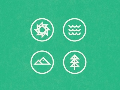 Dribbble - Sun, Sea, Mountain, Tree by Brent Couchman #design #graphic #symbols