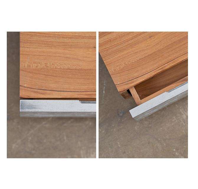 MASHstudios - PHC Series Low Night Table #wood #aluminum #working #handle