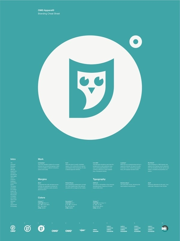 Universal Branding System Poster (OMG Apparel) #inspiration #creative #information #branding #icon #design #graphic #grid #system #poster #logo #typography