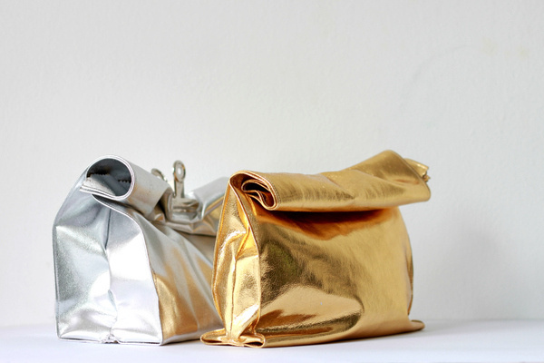 Leather paper bag #bag #silver #design #product #leather #golden #gold #diy #paper