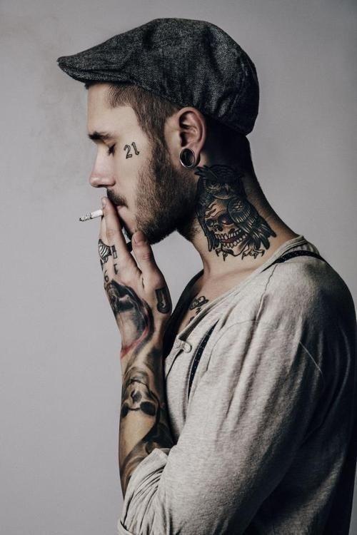 Trust issues   Tattoo #ink #owl #tattoo #neck #smoking