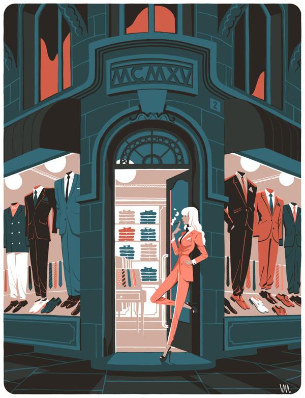 La parisienne on Behance #front #suite #shop #store #illustration