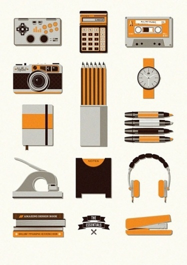 tumblr_lo2rj1rx001qz6f9yo1_500.jpg (495×700) #stationary #camera #headphone #retro #orange #illustration #watch #pencil