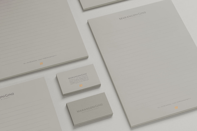 Marangoni Gino   Personal Brand. #lettering #typeface #logo #personalbrand #copper #hotfoil #elegant #sober #minimal #favini #burano