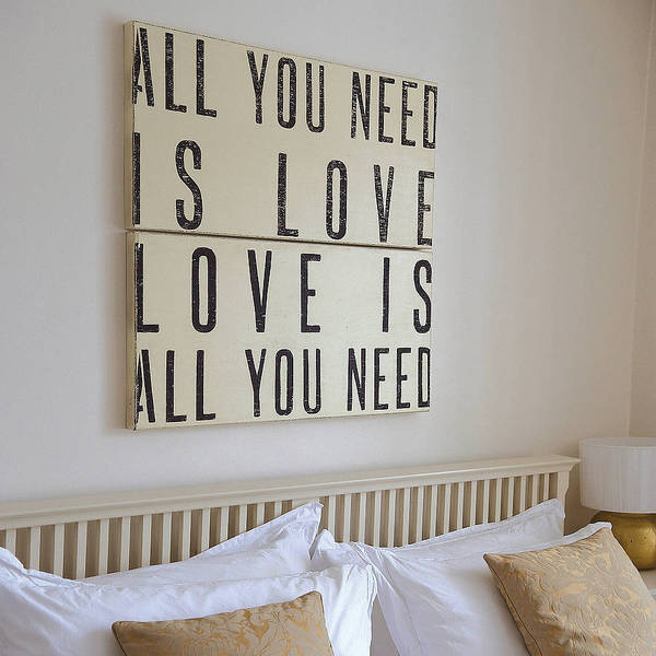 'All You Need Is Love' Wooden Sign #quote #beige #black #love #swords #typo #typography