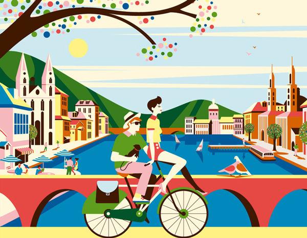 Bucherer #bicycle #color #illustration #biking #bike #green