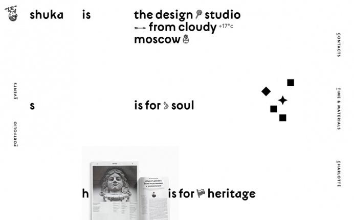 Shuka design russia russian white black typography type typedesign new modern cool best website webdesign inspiration graphic modern minimal