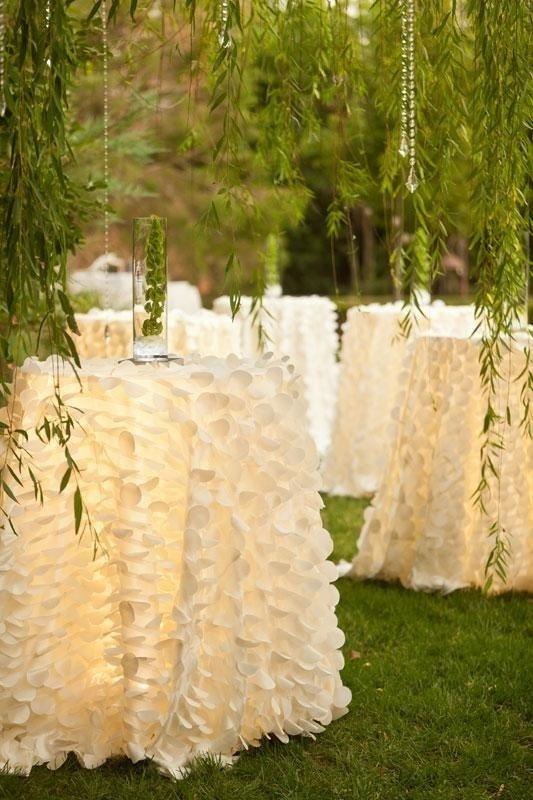 Lights under the table linens! #garden