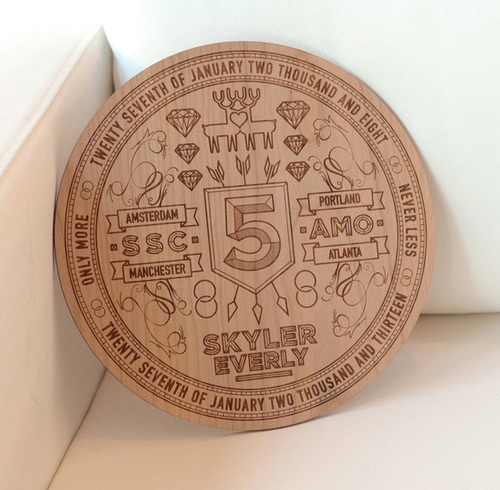 5th Anniversary Laser Etching #inspiration #design #graphic #professional #quality