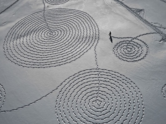 Eight Hour Day » Blog » The Best Thing I Saw Today • February 24, 2012 #concentric #snow #footprints #art #walking