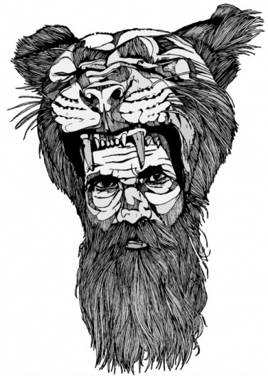 tumblr_lc8yflXq8H1qz9v0to1_500.jpg (JPEG-afbeelding, 499x700 pixels) #white #beard #big #cat #black #illustration #tiger #bw