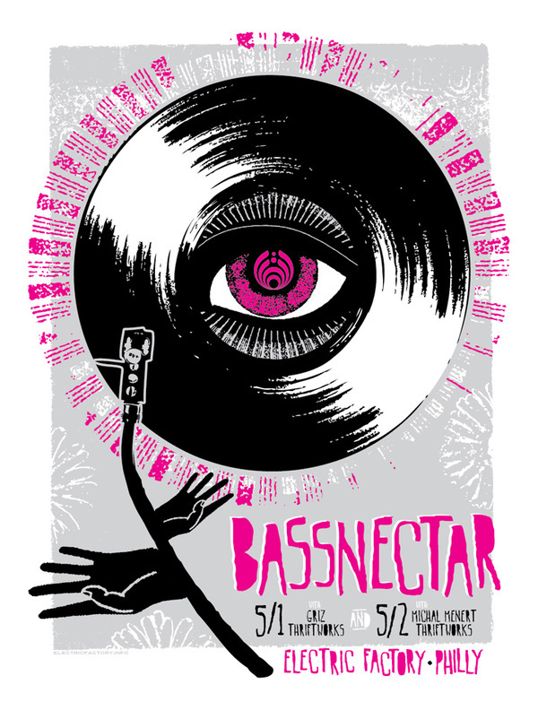 finished designing this poster for Bassnectar tonight, ill printing it over the weekend, its for his 2 sold out shows in Philly at the Elec #screen #print #poster