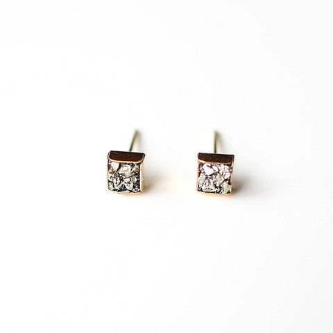 Pyrite Cube Studs    14K Gold Earrrings #pyrite #collection #pulse #earrings #14k #design #jewelry #gold #parallel