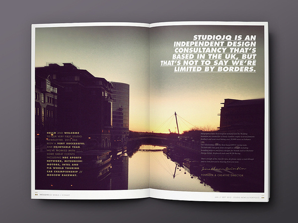 Behance :: STUDIOJQ SELF PROMO by Jonathan Quintin #portfolio #clean #studio #gold #layout #editorial #brochure #typography