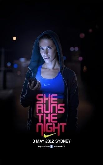 NIKE. She Runs the Night on the Behance Network #print #advertisement #copy #facebook #the #nike #night #runs #she #female
