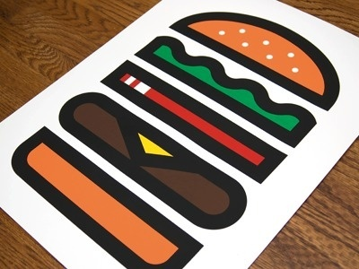 Dribbble - Burger by Aaron Eiland #print #aaron #eiland #poster #hamburger