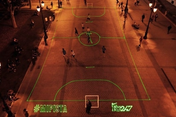In Spain, Nike Sets Up Laser Soccer Fields Upon Your Request DesignTAXI.com #branding #advertising
