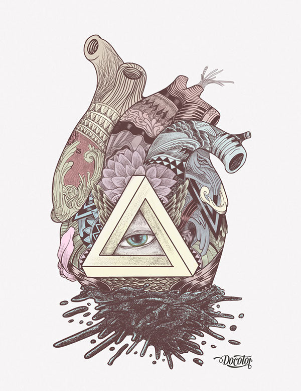 El corazon de la ilusión on Behance #illustration #heart #love #illusion #anatomy #triangle #eye #art #design