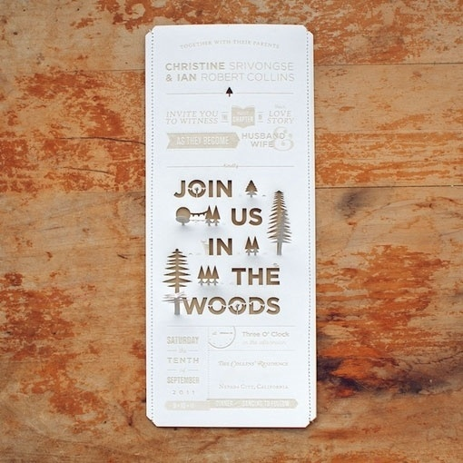 design work life » Christine & Ian's Wedding Invitations #wedding #invite #cut #invitation #woods #laser #wood #paper