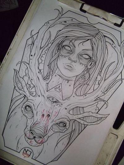 Tattoo design #illustration #color #art