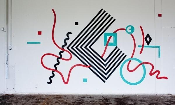 TOKAE #geometric #red #graffiti #painting #black #wall #lines #shape