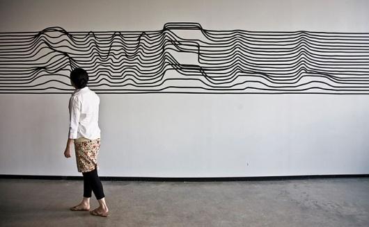 Synoptic Office #white #installation #stripes #black #type #typography