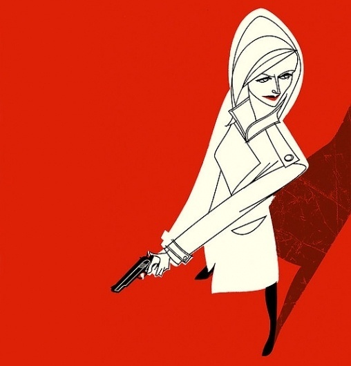 Jonas Bergstrand #red #woman #gun #shapes #illustration
