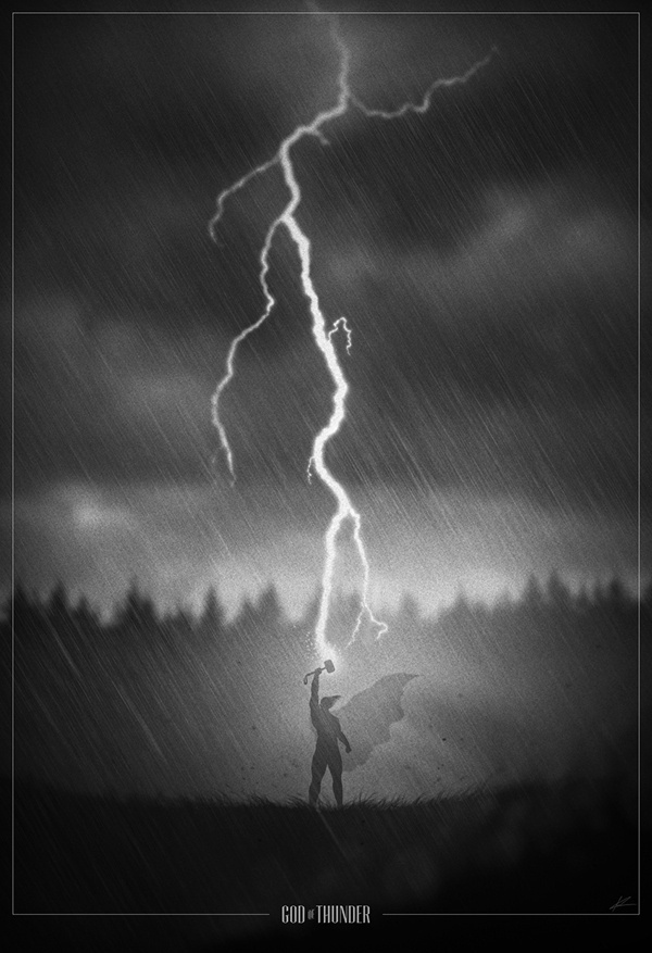 Thor noir poster by Marko Manev #movie #white #black #and