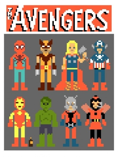 Laughing Squid - Avengers in Pixels by Ian Andersen #hulk #thor #spiderman #iron #pixel #the #wolverine #capitain #avengers #art #america #man