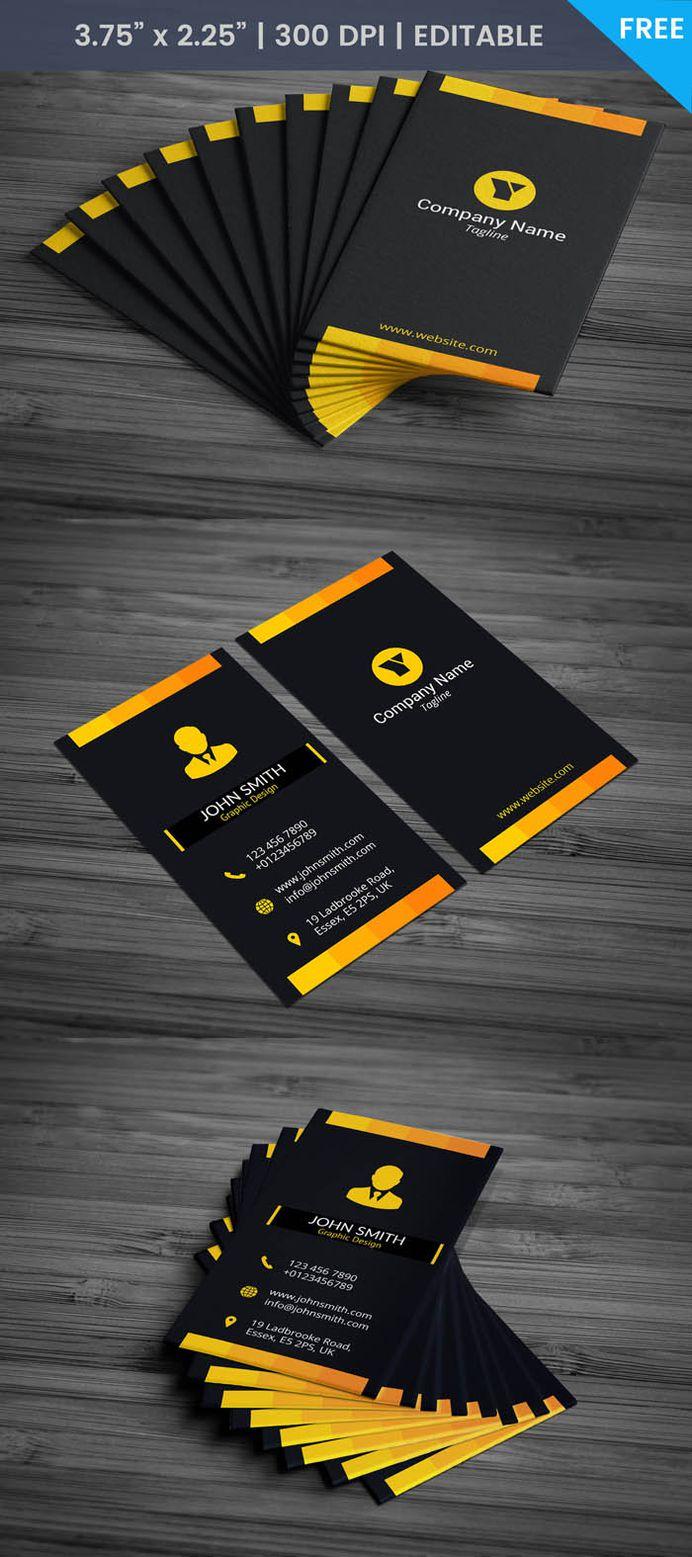 Free Black Portrait Business Card Template