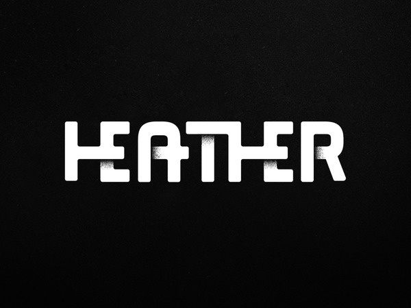Michael Spitz - Heather Sans #logotype #overlap #lig #serif #sans #ligature #custom #shadow
