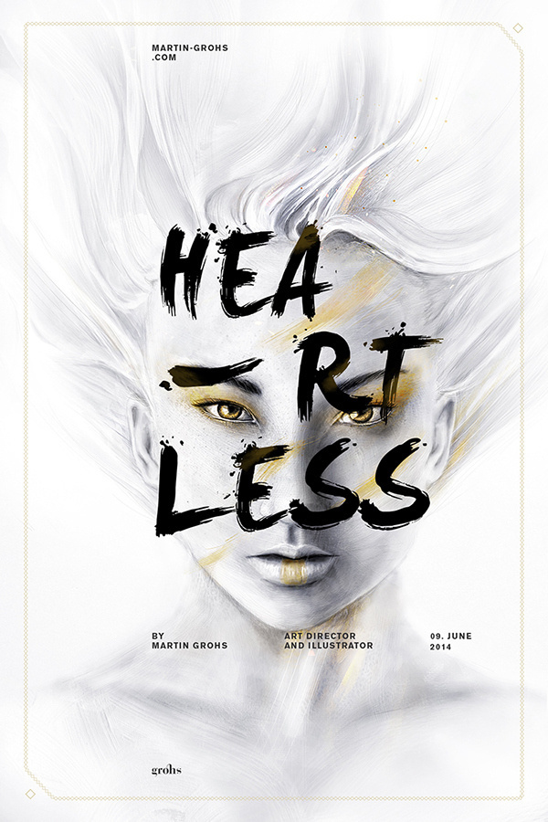HEARTLESS • COSMOSYS XV • EXPERIMENT III by Martin Grohs #inspiration #digital #portrait #art #painting #typography