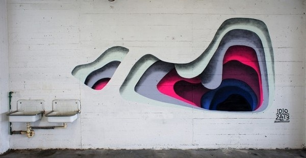 Holes in the wall by 1010 #layers #geometry #graffiti #art #painting #fine