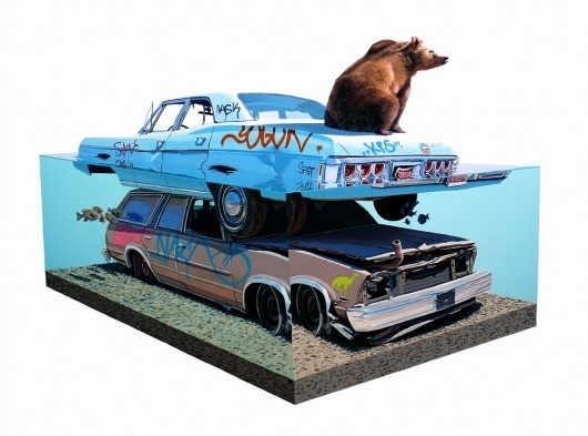 Paintings - Josh Keyes #urban #bear #cars