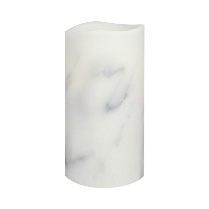 Carrara Marble Smooth Wax LED Flameless Pillar Candle, 8 cm x 15 cm