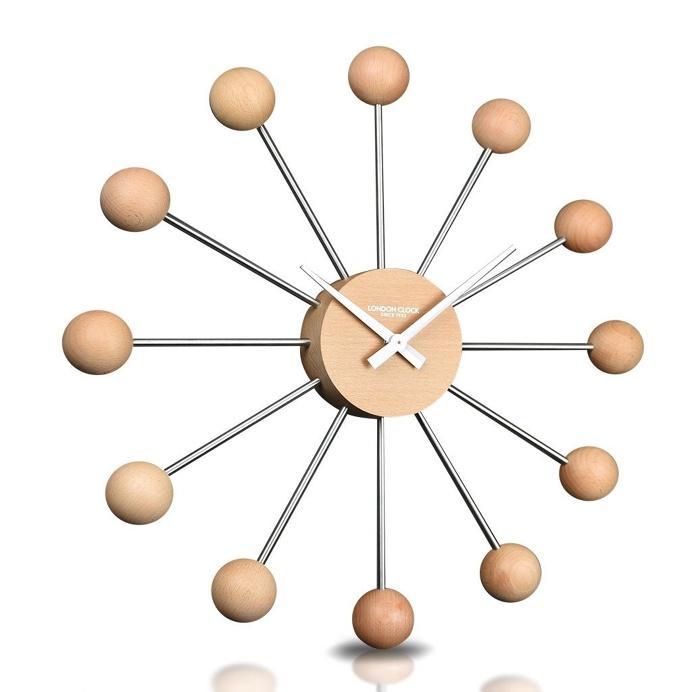London Clock Company 'The Sputnik' Wall Clock, Wood, 44cm