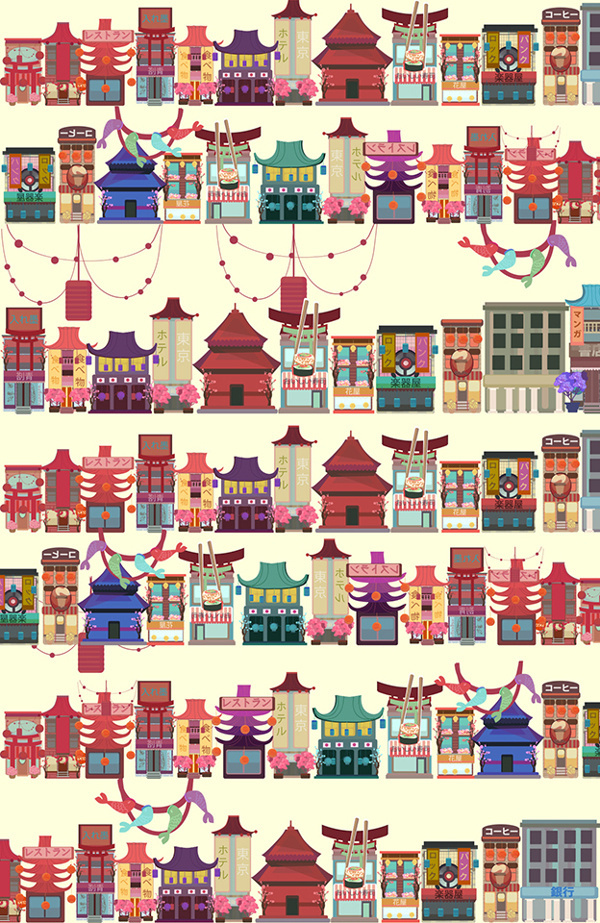Tokyo vol.2. on Behance #asia #illustration #tokyo #architecture #cute #colour #japan #buildings