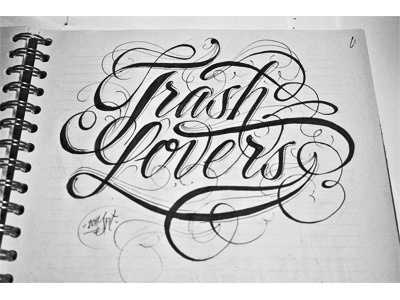 Dribbble - Trash by Kossyo Kokalanov #type #lettering #script #ink