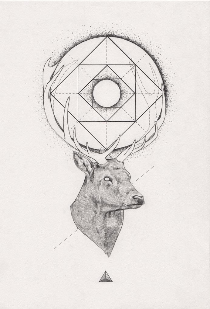 Tattoo Inspiration – (Geometric) Stag. A Peter Carrington illustration.