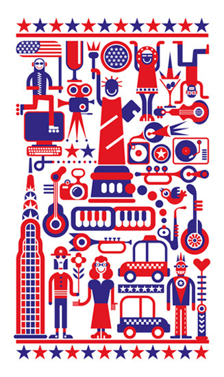 Fourth of July - Independence Day in New York City. #illustration #art #camera #abstract #heart #music #vector #white #blue #computer #holid