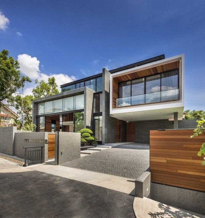 Contemporary Home Evoking a Warm Rustic Feel: Mimosa Road in Singapore #architecture #contemporary