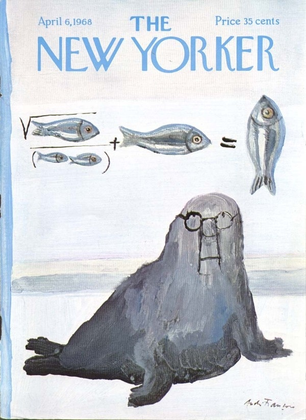 New Yorker cover Francois walrus fish calculus 4/6 1968 #glasses #fish #cover #seal #illustration #magazine